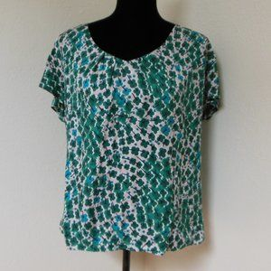 Boden Green Floral Blouse Size 12